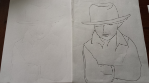 I outlined the image using tracing paper. I then transferred the image to the sketch paper.