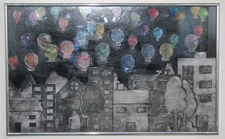 Mixed media - Relief printed balloons and a collagraph plate city scene. Watercolour paint and pastels.