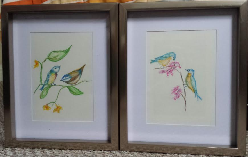 Drawing – Oil Pastels Birds