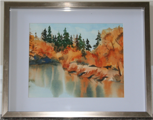 "Watercolor painting - ""Fall By The Lake"". I used mainly the ""Went in Wet"" and ""Dry Brush"" techniques."