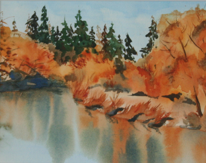 Original Painting – Watercolor – Fall By The Lake