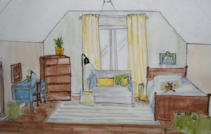 Using markers, I quickly sketch the bedroom to study how the colours would be distribute around the room.